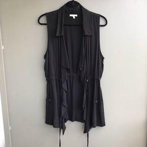NWOT Drape Front Vest in Black